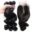 Jada Human Hair Bundles with Lace Closure Loose Wave Natural Hairline