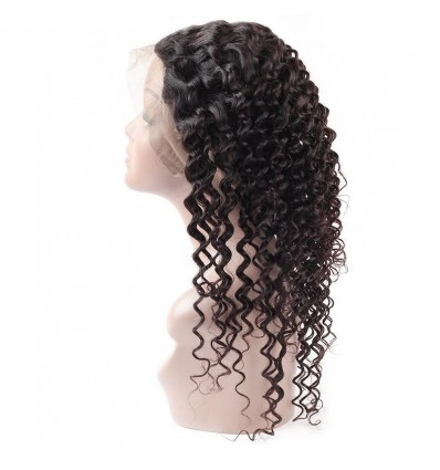 Jada Hair Unprocessed Deep Wave Brazilian Hair with 360 Lace Frontal