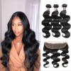 Jada Long Soft Indian Virgin Hair 3 Bundles Body Wave with Lace Frontal