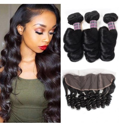Jada Cheap Natural Indian Human Hair Loose Wave 3 Bunels with Lace Frontal