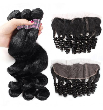 Jada Ear to Ear Lace Frontal Peruvian Loose Wave Virgin Hair Bundles 3