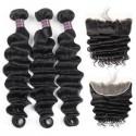 Jada Affordable Brazilian Virgin Hair Loose Deep Wave 3 Bundles with Lace Frontal