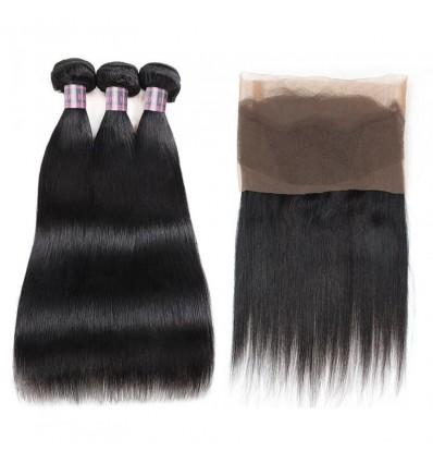Jada Natural Black Straight Human Hair 3 Bundles with 360 Lace Frontal Closure