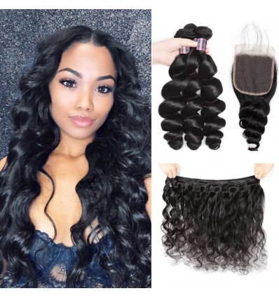 Jada Hair Natural Black Indian Loose Wave 3 Bundle Deals with Swiss Lace Closure