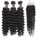 Jada Cheap Natural Brazilian Deep Wave Hair Bundles with Lace Closure