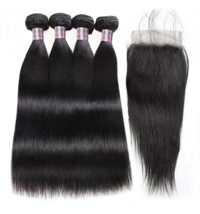 Jada Natural Black Peruvian Straight Virgin Hair Extension 4 Bundles with Lace Closure