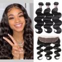 Jada Malaysian Cheap Human Hair Body Wave 3 Bundles with Lace Frontal