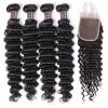Jada Glueless Indian Deep Wave Hair Weaving 4 Bundles with Lace Closure